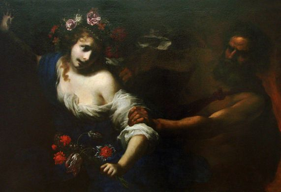 Persephone's abduction. [Painting by Simone Pignoni, c. 1650.]