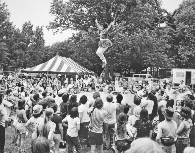 A Native American blanket toss at the 1974 Folklife Festival, by Unidentified photographer, Photographic print, Smithsonian Institution Archives.