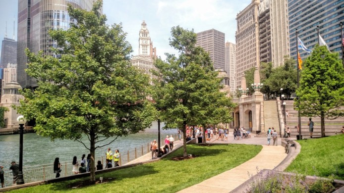 What the Chicago Riverwalk lacks in size it nearly makes up for in skyline views.