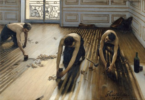 Gustave Caillebotte, The Floor Scrapers, 1875, oil on canvas, Musée d'Orsay, Paris, Gift of Caillebotte's heirs through the intermediary of Auguste Renoir, 1894. © RMN-Grand Palais:Art Resource, NY