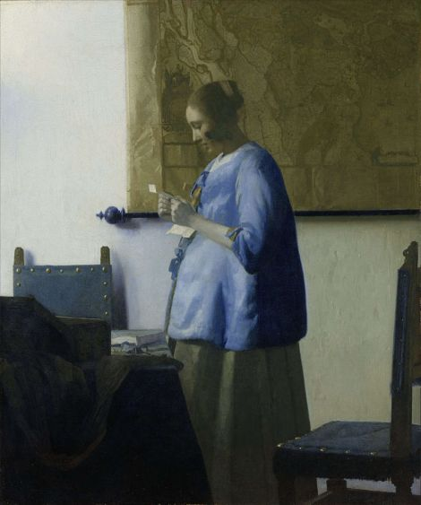 "Vermeer's ""Woman in Blue Reading a Letter."" Courtesy of Wikipedia."