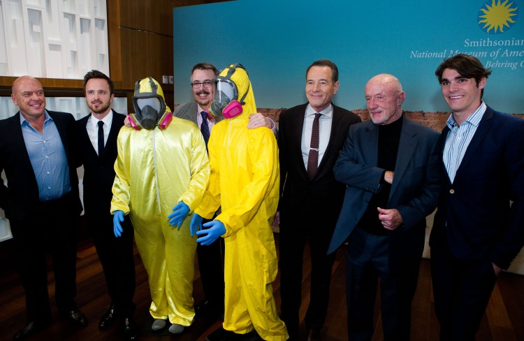 """Members of the """"Breaking Bad"""" cast and crew appear at the Smithsonian's National Museum of American History on Tuesday, Nov. 10, 2015. From left are Dean Norris, Aaron Paul, Vince Gilligan, Bryan Cranston, Jonathan Banks and R.J. Mitte."""