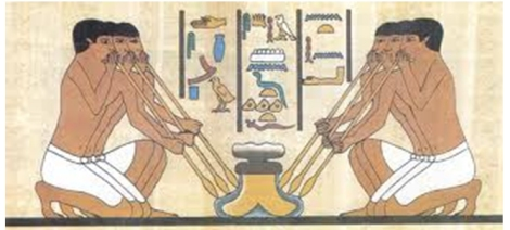 Egyptians blowing glass, via http://www.historyforkids.net/ancient-egyptian-science.html