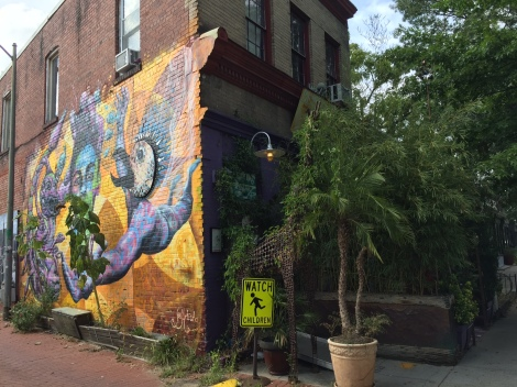 The Bergner mural on the outside wall of Bloombars, an arts space in Columbia Heights